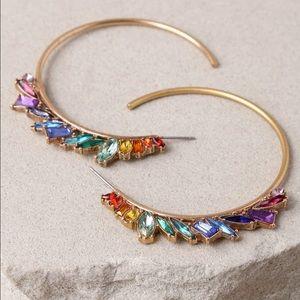 🌈 NWT Rare Lulu's Rainbow Hoop Earrings